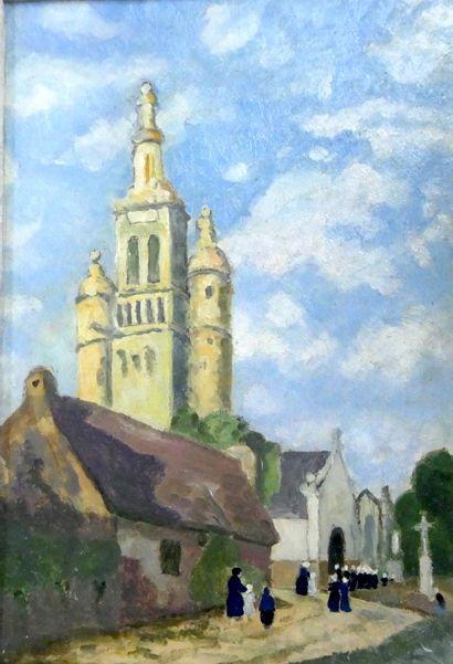 Ecole Bretonne du début du Xxè siècle  L'église...