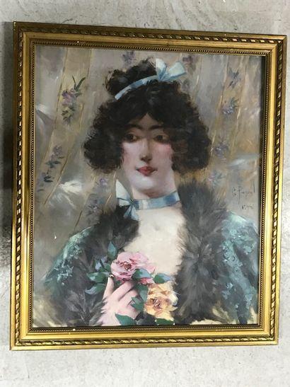 Georges PAYEN (XIXe-XXe)  Portrait de jeune...