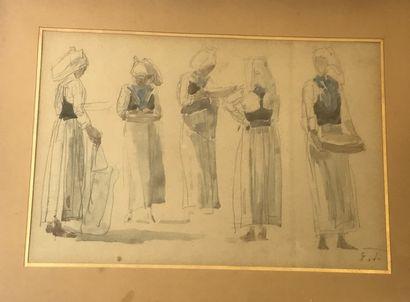D'après Eugène BOUDIN  Etude de costumes...