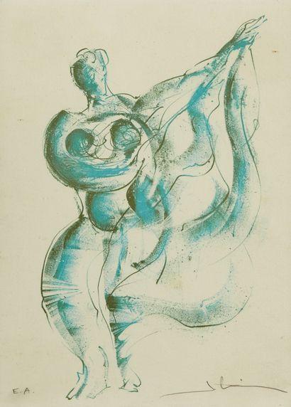 SALVADOR DALI (1904-1989), d'après  Danseuse au voile  Gravure couleur sur papier,...