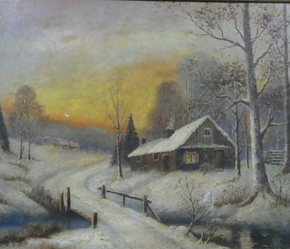 Xavier SAGER (1881-1969)  Maisons sous la...