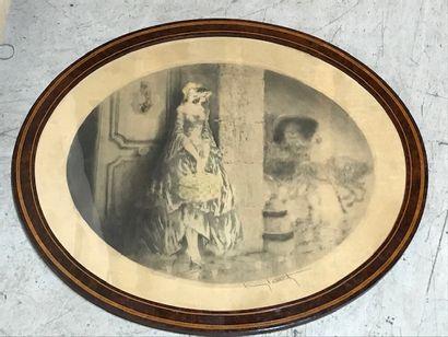 LOUIS ICART (1888-1950)  Jeune femme au panier  Lithographie en couleurs, à vue...