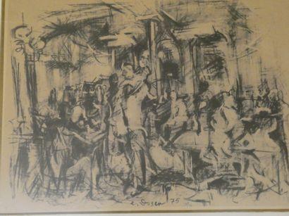 E. GOZEN  Scène de bistrot  Lithographie...
