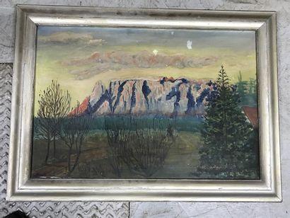 G. STOCK (Xxè siècle)  Paysage montagneux....