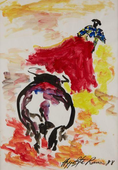 Hippolyte ROMAIN (né en 1947)  Corrida, 1988...