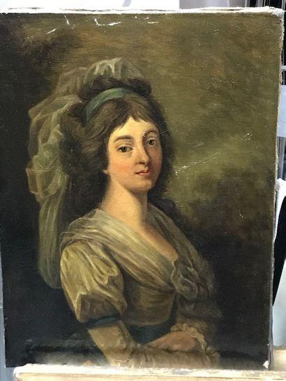 Ecole française du XIXe  Portrait de femme...