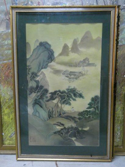Chine, Xxème  Paysage lacustre - Le Guerrier...