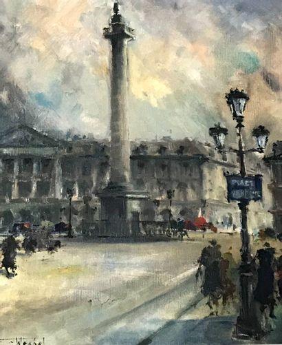 Ecole du Xxè siècle  Place Vendôme  huile...