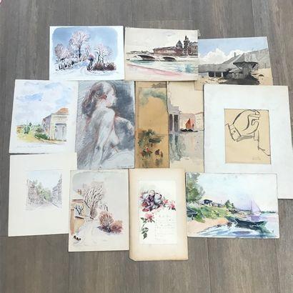 Ensemble de dix dessins dont un signé de...