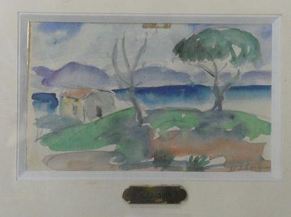 Henri LEBASQUE (1865-1937)  Paysage de bord...