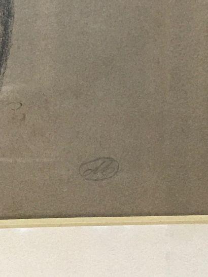 ARISTIDE MAILOL (1861-1944), D'après  Nu féminin de dos  Gravure en noir, monogrammée...
