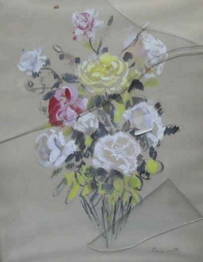 Francis SMITH  Bouquet de roses  Crayon et...