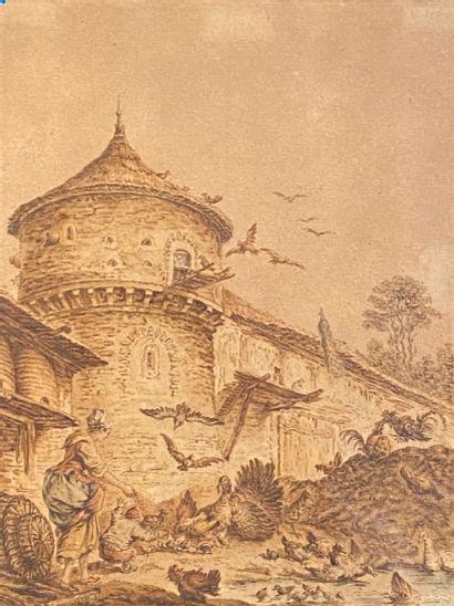 Ecole FRANCAISE du XVIIIème siècle  La cour...