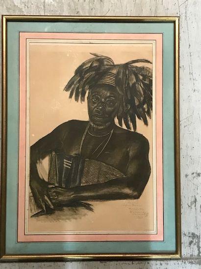 ALEXANDER IACOVLEFF (1887 -1938)  Portrait d'homme à la coiffe  Lithographie en...