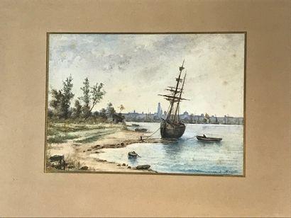 L RENAULT fin XIXè siècle  Bateaux en bord...