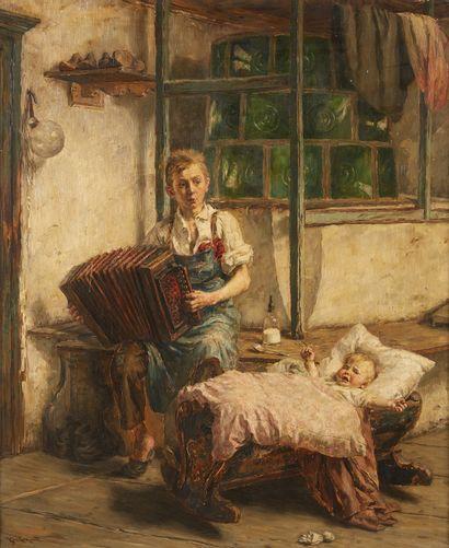 Karl GEBHARDT (1860-1917)  Enfant à l'accordéon...
