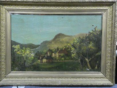 Ecole française du XIXème  Vue d'un village...