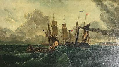 Ecole de la fin du XIXè siècle  Marine  Huile...