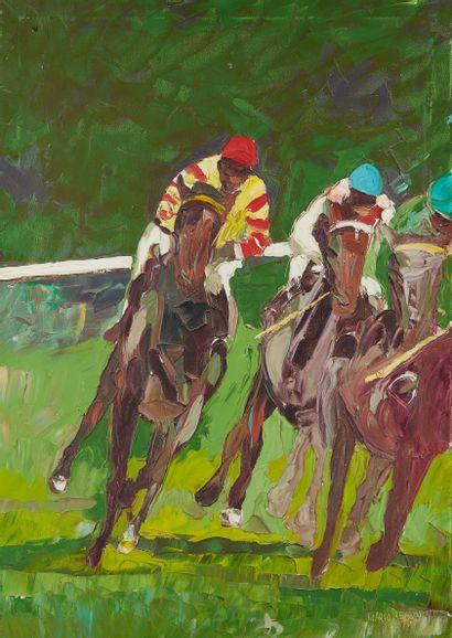 MARIO BERRINO (1920-2011)  Course de chevaux...