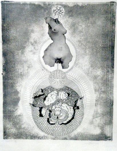 POUMEYROL (Xxè siècle)  Gravure érotique numérotée 1/5 Série I. Signée en bas à...