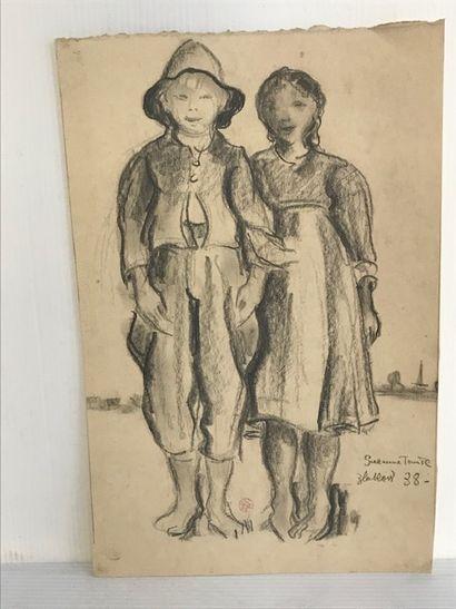 Suzanne TOURTE (1904-1979)  Deux enfants...
