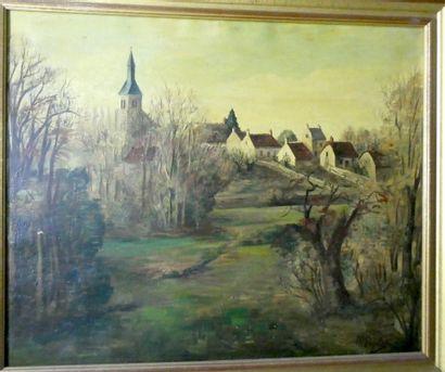 M. PIGELET  Paysage au clocher  Huile sur...