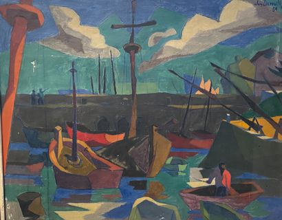 Jacques DEPOUILLY, vers 1950  Bateaux au...