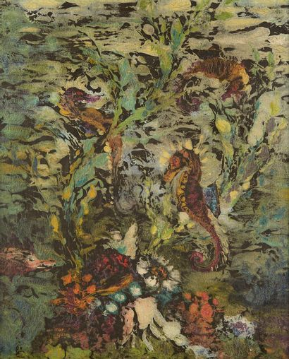 MARCEL GUILLARD (1896-?)  Fond marin  Huile...
