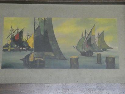 G. DERNBER ( Xxè siècle)  Bateaux en mer....