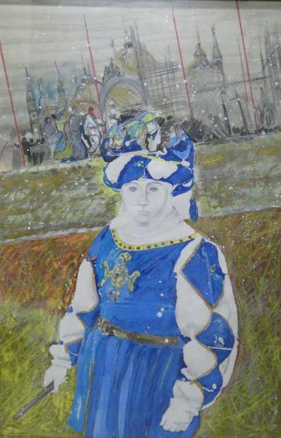 Ecole russe du XXème  Portrait de femme en...