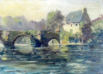Ecole Moderne  Pont au bord de rivière  Huile...