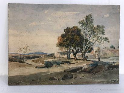 Jean-Joseph BELLEL (1816-1898)  Paysage italien...