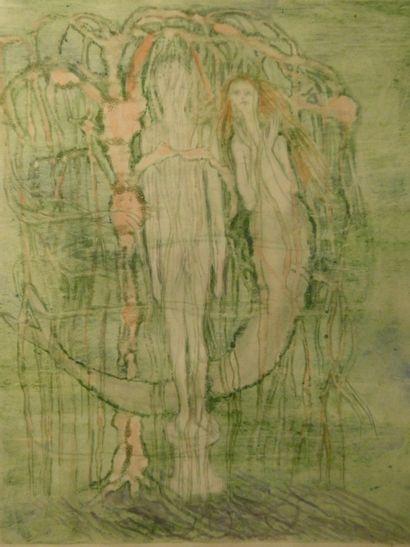 LARS BO (1924-1999)  Lithographie en couleurs, illustration pour la petite sirène,...