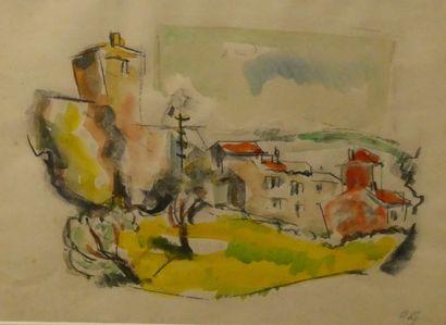 Hubert GAILLARD (1912-2003)  Vue de village...