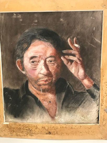 Ecole Xxè siècle  Portrait de Gainsbourg...