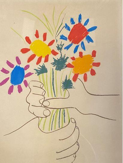 PICASSO, d'après  Mains tenant un bouquet....