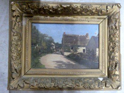 Albert JACQUET (XIXèXXè siècle)  Vue de village...