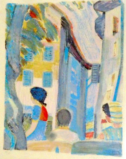 Ecole Moderne  Vue de village.  Lithographie...
