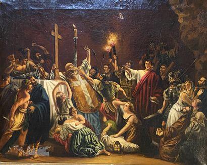 Ecole XIXe  Scène religieuse (reprise d'un...