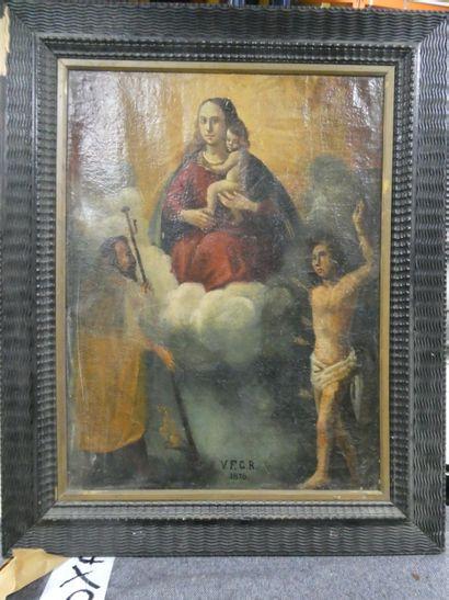 Ecole italienne du XIXe  Sainte Vierge  Huile...