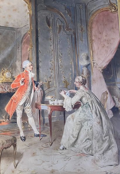 BERNARD LOUIS BORIONE (1865-?)  Scène d'intérieur...