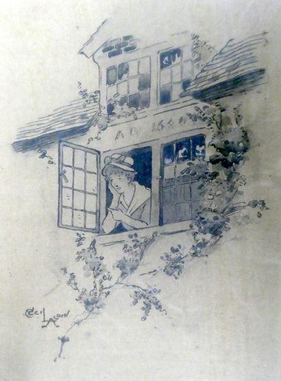 Cecil ALDIN (1870-1935)  femme au balcon...