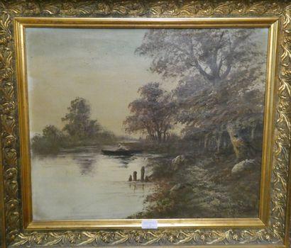 Ecole début Xxè siècle  Barque sur l'étang...