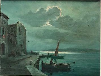 J. P VENTURA (XXè siècle)  Barques au port...