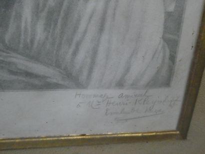 Emile Louis DE RUAZ (1868-1931)  Portrait de femme à l'antique  Eau forte  Signée...