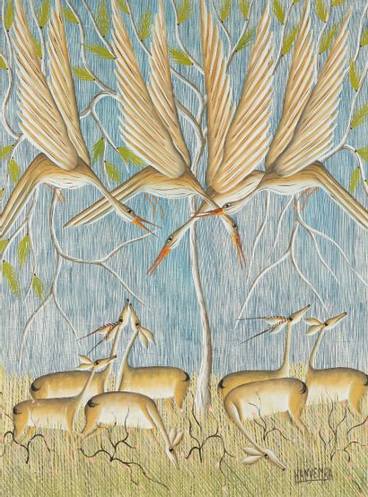 DENNY KANYEMBA (né en 1973)  Oiseaux et...