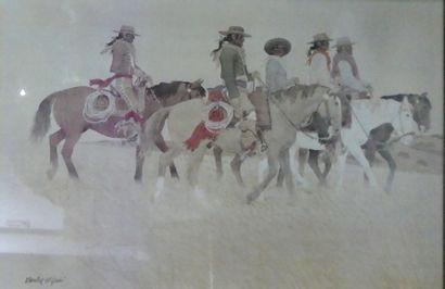 Travail contemporain  Cowboy  Reproduction en couleurs encadrée  Dim.: 57x90