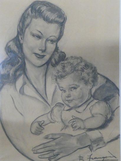 R. FRANCOIS  Jeune mère et sa fille.  Fusain...