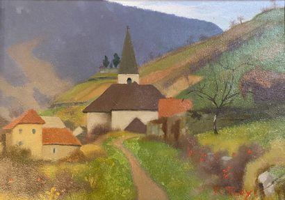 ROY (Xxè siècle)  Eglise de Lods  Huile sur...