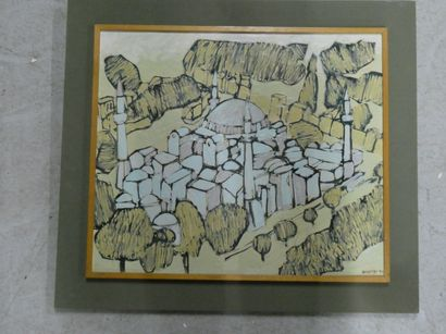 MVHSIN (Xxè siècle)  Mosquée.  Huile sur...